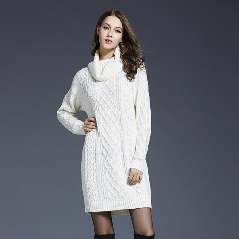 turtleneck sweater dress 2018 winter twist knitted fashion white long jumper knitwear women sweaters and pullovers plus size