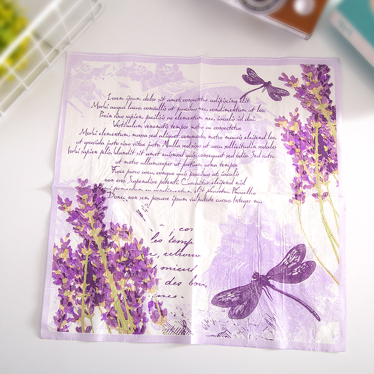 Table Vintage Purple Napkin Paper Tissue Printe Flower Lavender Dragonfly Handkerchief Decoupage Servilletas Wedding Party Decor