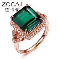 ZOCAI дизайн кольца Роскошные 7,0 CT настоящий зеленый турмалин кольцо настоящим 18К розовым золотом, 0. 25 карат бриллиантовое кольцо