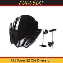 Pare-brise de moto pour Yamaha FZ6 Fazer S2 2004 – 2009 XJ6 Diversion XJ6N 2009 – 2015, visière avant