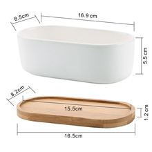 Hot Sale Ceramic white plant pots Modern oval plant pots/cacti plant pots with bamboo tray