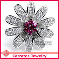 Carraton Marvelous Flash Big Daisy Flower CZ Diamond Genuine 925 Silver Ring