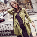 2016 Autumn & winter new women Slim blouseLong-sleeved windbreaker jacket female long section of large size