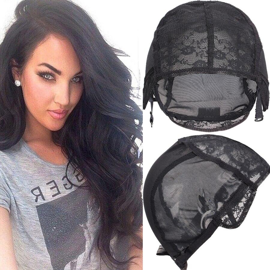Новые модные черные плетеные шапочки для шитья волос, уток, большой, средний, маленький парик, шапочка для изготовления париков с регулируем...