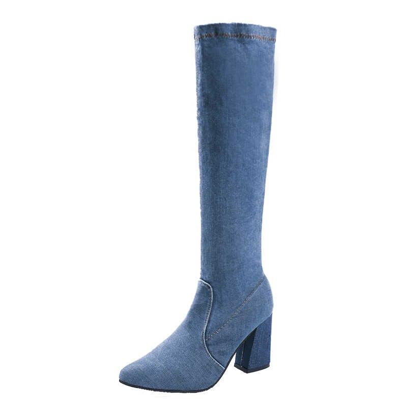 Fujin แบรนด์ 2019 ใหม่ DENIM ผู้หญิงกว่าเข่าบู๊ทส์ซิปเซ็กซี่รองเท้าส้นสูงรองเท้าผู้หญิงรอบ Toe ฤดูหนาวรองเท้ารองเท้า