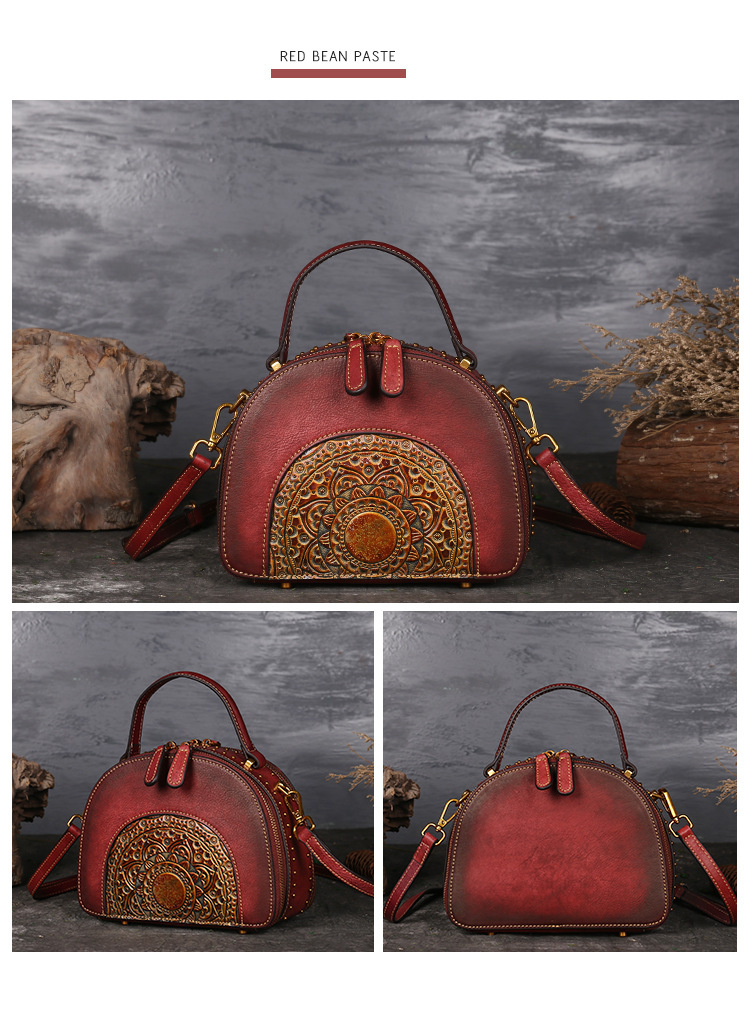18 Luxury Women Genuine Leather Handbags Ladies Retro Elegant Shoulder Messenger Bag Cow Leather Handmade Womans Bags 6