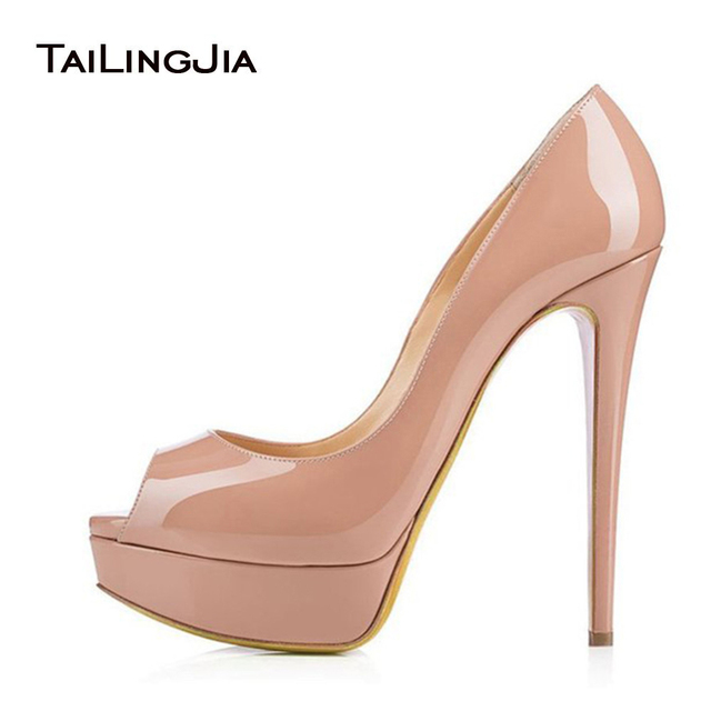 Women Pumps 2017 Nude Platform Heels Peep Toe Extreme High Heel ...