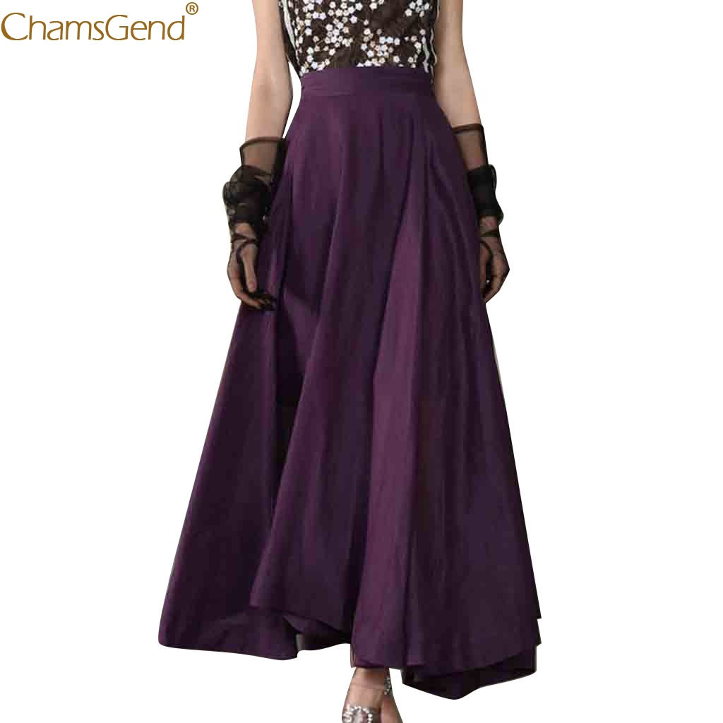 Summer Skirts Womens Plus Size Fashion Party A-Line Hight Waist Solid Maxi Long Skirt Womens Summer Elastic Long Skirt Jul