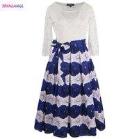 HANZANGL Spring Summer Brand Women Dress Elegant O Neck Lace Patchwork High Waist Flower Ball