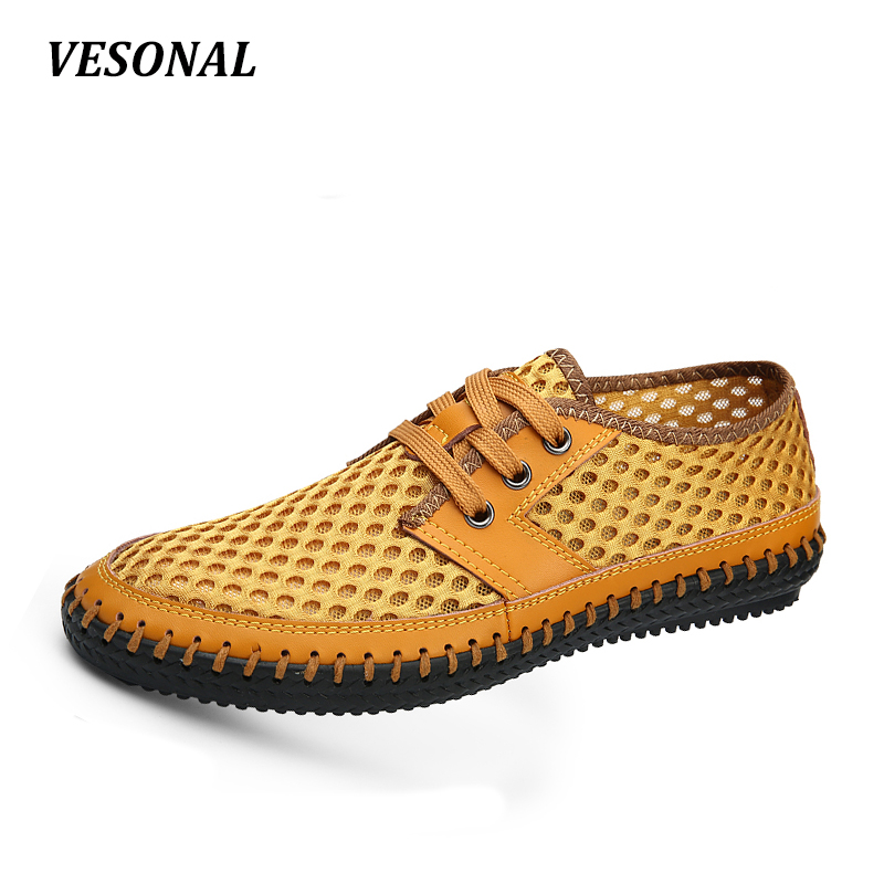 VESONAL New 2017 Summer Genuine Leather Breathable Flats Mesh font b Men b font Casual Shoes