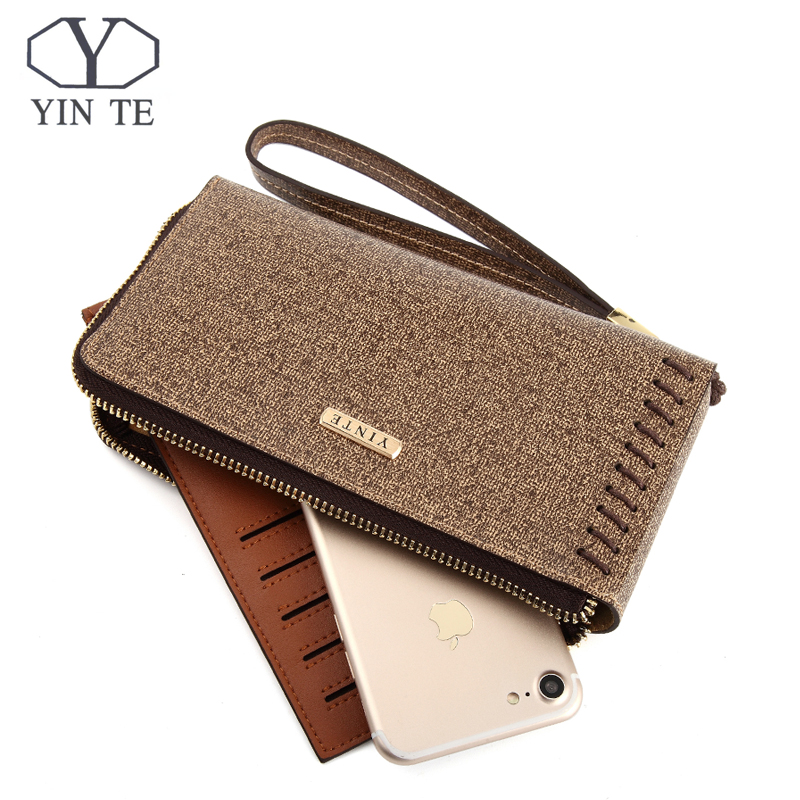 YINTE Fashion Wallet Leather Purse And Handbags For Male Luxury Brand Brown Zipper Clutches Portfolio Wallet Fashion T8241-1  new fashion men wallet pu leather purse handbags for male luxury brand black no zipper men clutches free shipping card holder