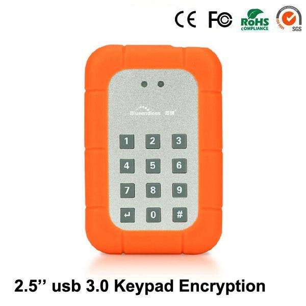 "Blueendless Alumium 2.5 ""USB 3.0 для Клавиатуры Аппаратное Шифрование для SATA костюм для ssd hdd док 9.5 мм HDD корпус KEY25"