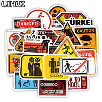 20 PCS Warning Stickers Classic Toys Danger Banning Signs Waterproof Stickers to DIY Laptop Motorcycle Car Collection Kids Gift