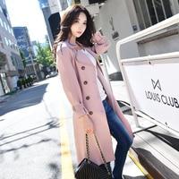 Dabuwawa Pink Autumn Long Sleeve Fashion Womens Double Breasted Trenchcoat Female Casual Windbreaker Outwear