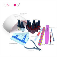 CNHIDS in 24W Professional 9C UV LED Lamp of Resurrection Nail Tools and Portable Package Five 10 ml Soaked Gel Nail Polish