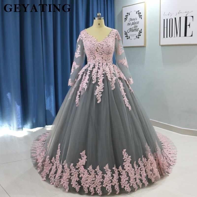2020 Saudi Arabic Ball Gown Grey Muslim Wedding Dress Long Sleeves