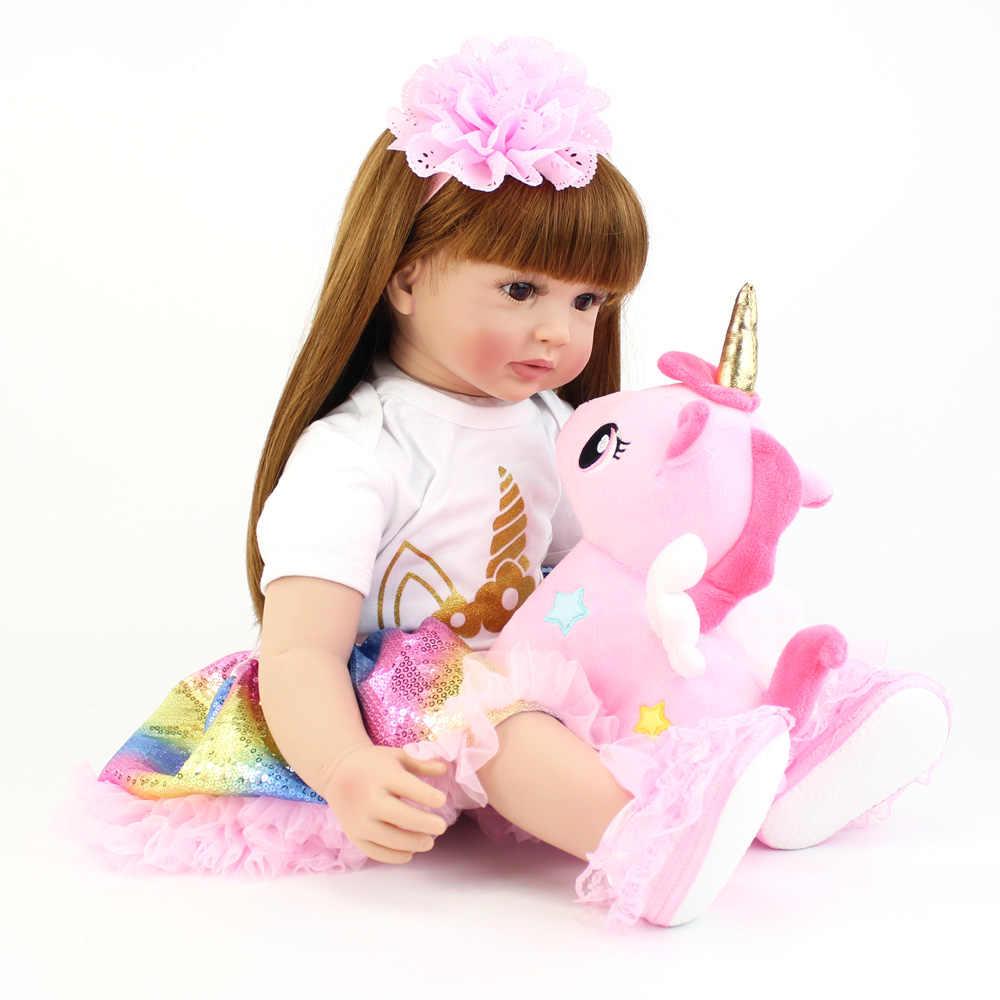 60cm tamanho grande reborn criança boneca brinquedo lifelike vinil princesa bebê com unicórnio pano corpo vivo bebe menina presente de aniversário