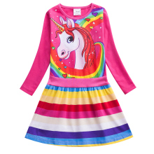Autumn Unicorn Girl Kids Long Sleeve A-line Dress Print Rainbow Stripes Girls Long Sleeve Round Neck Cotton Dress LH6219 stylish round neck long sleeve voile spliced a line women s dress
