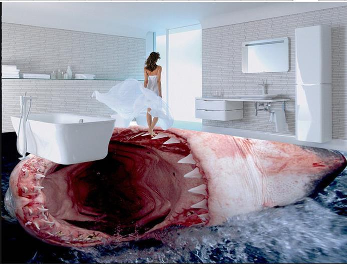 Custom photo floor wallpaper 3d stereoscopic 3d shark for 3d wallpaper for home floor