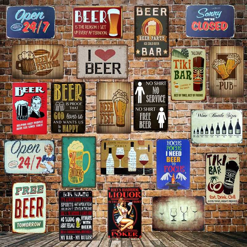 [ WellCraft ] I LOVE FREE BEER bar STYLE Vintage TIKI BAR OPEN Metal Signs Wall Plaque Custom Painting Antique Pub Decor LT-1708