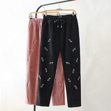 Plus Size Casual Pencil Pants Autumn Winter Women Clothing Fashion Loose Lined velvet warm washed Stretch Trousers E23-030(China)
