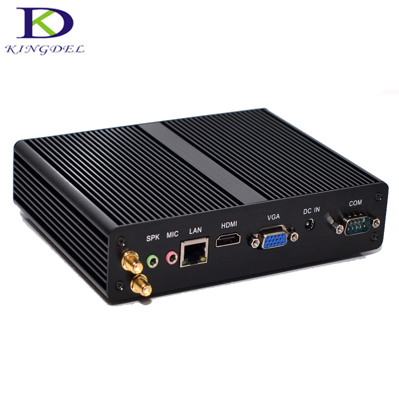 Kingdel Fanless Mini PC Intel Celeron CPU J1900 Quad Core Desktop Mini PC HTPC Windows7/8 HDMI LAN VGA 2*COM WiFi Plam Nettop PC
