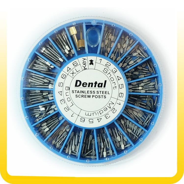 Dental STAINLESS STEEL Screw Post 120pcs&2Key Dental Screw Post Dental Supplies dental materials free shipment(China)