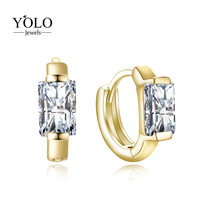 Square Hoop Earrings for Women with Shiny AAA Cubic Zirconia Earring Gold Color Earring Suitable for Parties Love Gift