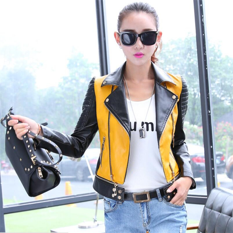Women   Leather   Jacket Coat PU Women   Leather   Motorcycle Jacket Patchwork Color Spring Autumn Zippre Design Plus Size S-3XL