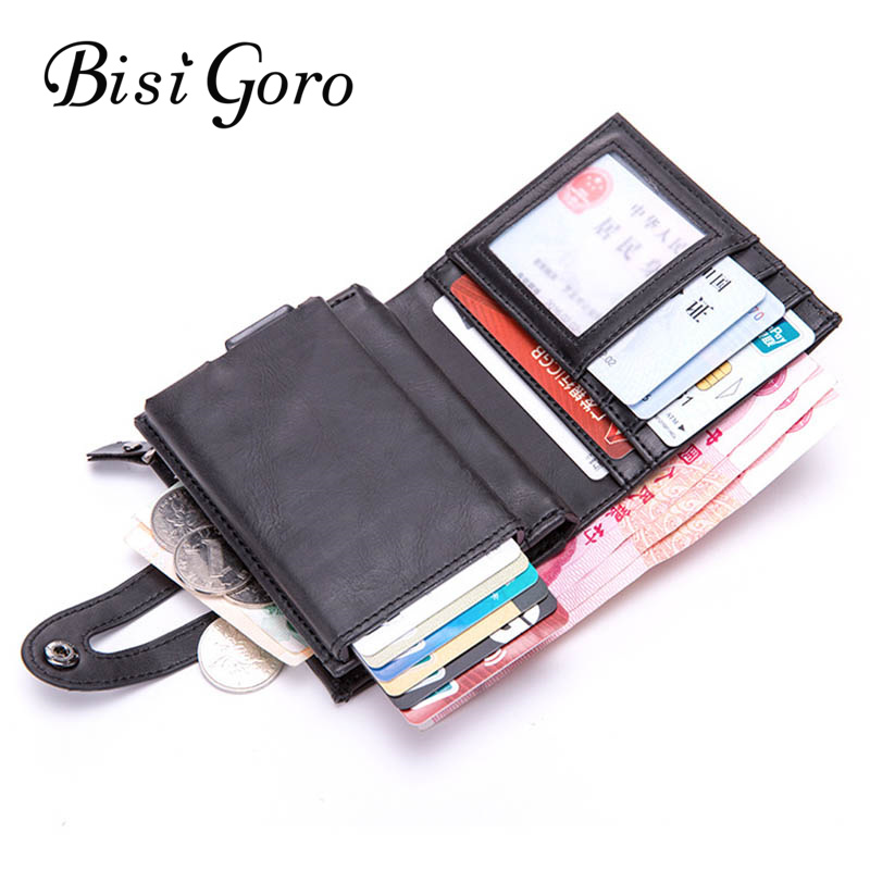 BISI GORO New Cion Purse Smart Wallet RFID Credit Card Holder 2020 Metal Aluminium Box Blocking Travel Card Wallet Dropshipping