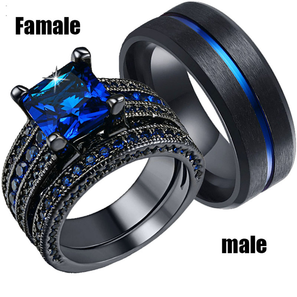 Ring-Set Jewelry Couples Engagement Wedding Silver 316l-Stainless-Steel Black White Blue title=