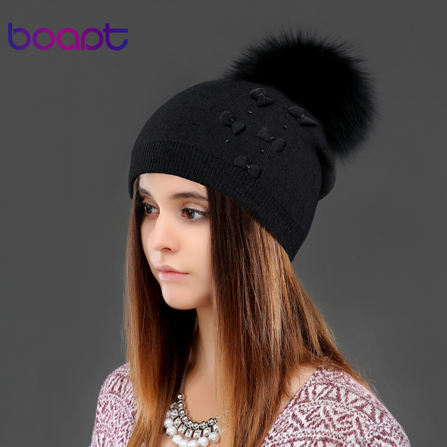 BOAPT bow knitted cashmere caps natural genuine raccoon fur pompons cotton soft for women winter hats female gorros caps beanies
