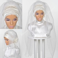 Muslim Bridal Hijab 2019 Crystals Beading Islamic Wedding Veils Cut Edge Turban for Brides Tulle Satin Head Cover Elbow Length