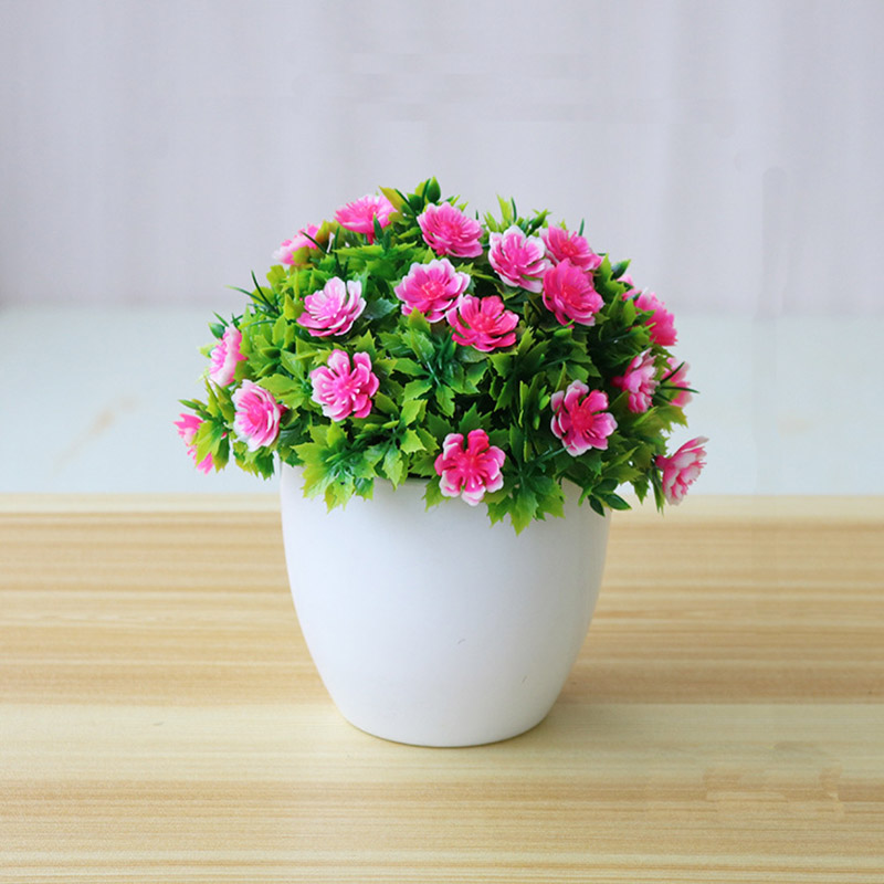 Artificial Flower Potted Desktop Fake Plants Bonsai Plastic Fake Flower Potted Plant Home Garden Deocration Supplies AEL005