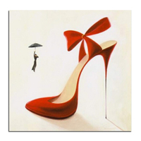 Czerwone buty na wysokim obcasie 50x50 naklejki Samodzielny plac diament diament malowanie malowanie rhinestone wklejony home decoration