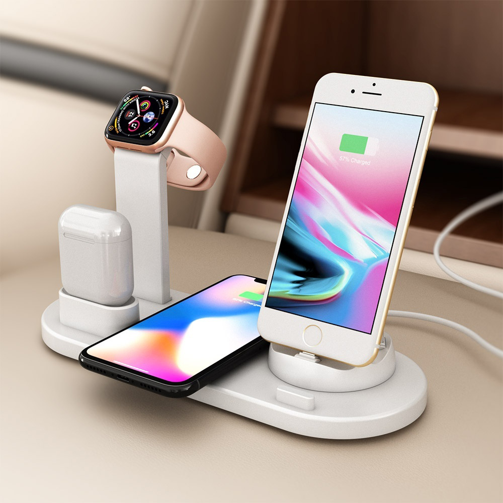 Wireless-Charger Charging-Pad Apple Watch iPhone 8 4 for Plus-X-Xr XS 3-In-1 1-2-3-4-Earphones