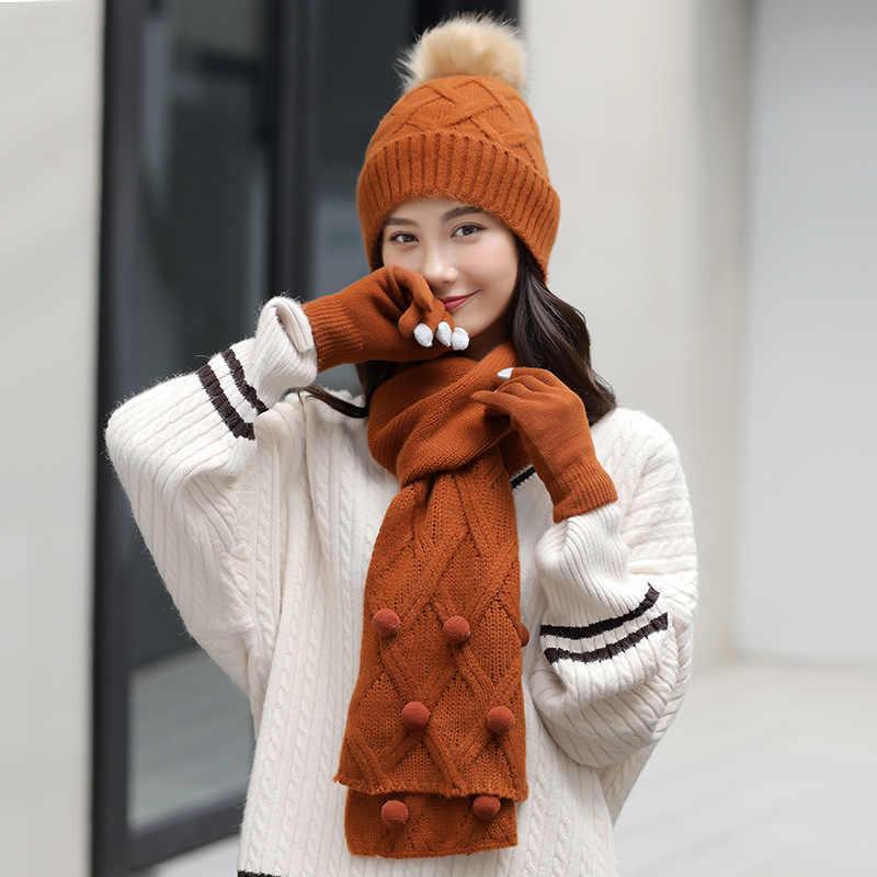 0d4ca4268a0 ... winter warm plush thick beanie wool ball +long knit scarf +gloves 05  three pc ...