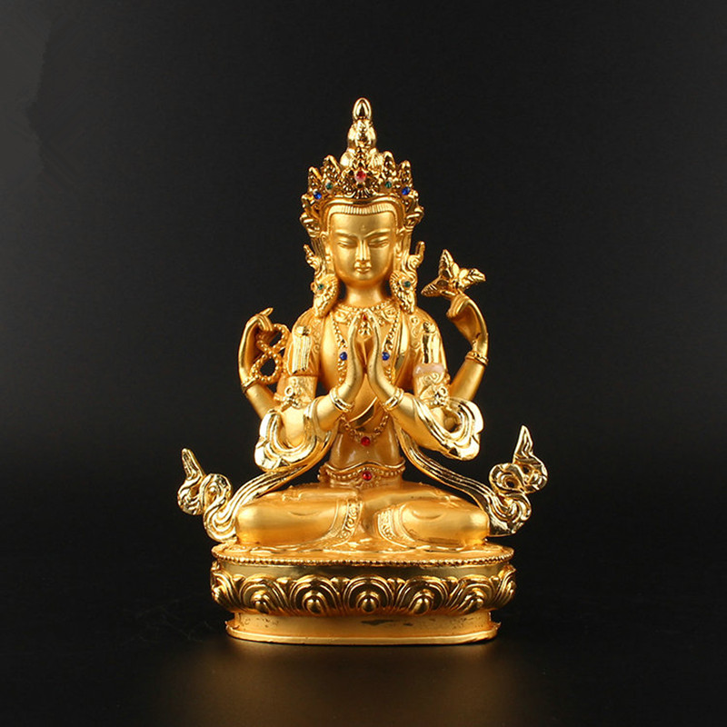 14.8cm Alloy Metal Gold Plated Buddhist Suppliers Avalokitesvara Bodhisattva Four-Arms Guanyin Tibetan Figure Buddha  Statue