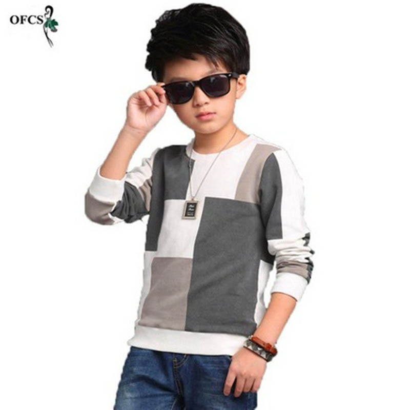 2017 New Leisure Kids Children's Clothing, Boy Autumn Checked Knit Sweater T-shirt Coat Cuhk Children Joining Together 5-16Year contrast frill trim rib knit t shirt