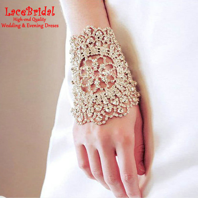 Bling Luxo Goloves luvas De Casamento Frisado De Cristal 2016 Pulseira de Prata Por Atacado Luvas Sem Dedos de Noiva Acessórios Do Casamento Em Estoque