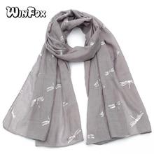 Winfox Fashion Luxury Brand Dragonfly Print Grey Silver Foil Scarf Womens Shawl Pashmina Loop Stole Scarves Blend