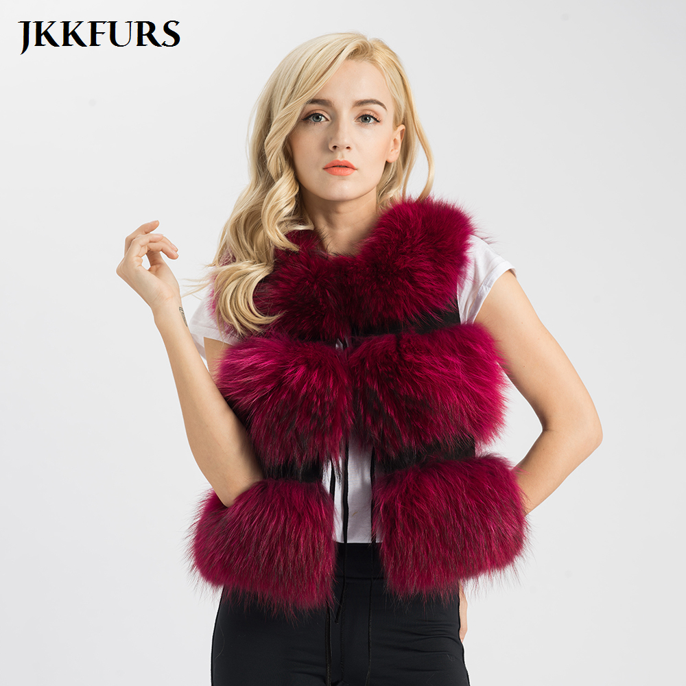 2019 New Arrivals Real Fur Vest Women Genuine Raccoon Fur Gilet Waistcoat Winter Fashion Thick Warm