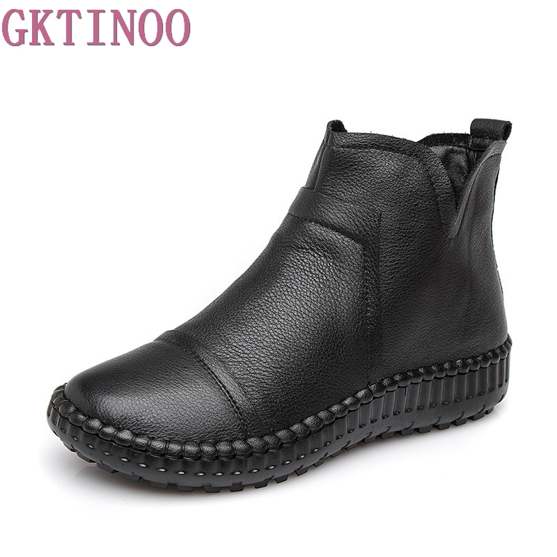 Women Ankle Boots Handmade Genuine Leather Woman Boots Spring Autumn Round Toe Retro Shoes Female Footwear women ankle boots handmade genuine leather woman boots autumn winter round toe soft comfotable retro boot shoes female footwear