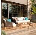 Плетеное кресло для отдыха и диван для комфортного обеда на свежем воздухе/деревянная рама и стол для напитков