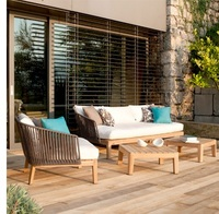 Wicker Lounge Chair and Sofa for Comfortable Alfresco Dining / Hardwood Frame and Drink Table