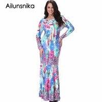 Ailunsnika 6XL 7XL Plus Size Women Elegant Casual O Neck Long Sleeve Maxi Summer Dress 2017