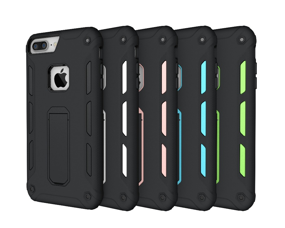 For iPhone7plus case 5.5inch 2in1 color collision all inclusive border defense slip support protective cover mobile