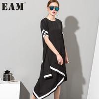 Soonyour 2016 Hot New Irregular Solid Color White Black Long Dress Women Short Sleeved Fashion