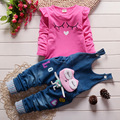 2016 новый горячий источник новорожденных девочек комплект одежды детей джинсовые комбинезоны джинсы брюки + блузка полный рукав Twinset детская одежда комплект
