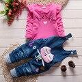 2016 nova Hot Spring bebê meninas roupas Set crianças Denim macacão calça jeans calça + blusa completo manga Twinset roupa dos miúdos Set